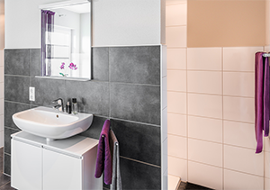 modern bathroom sink and towels