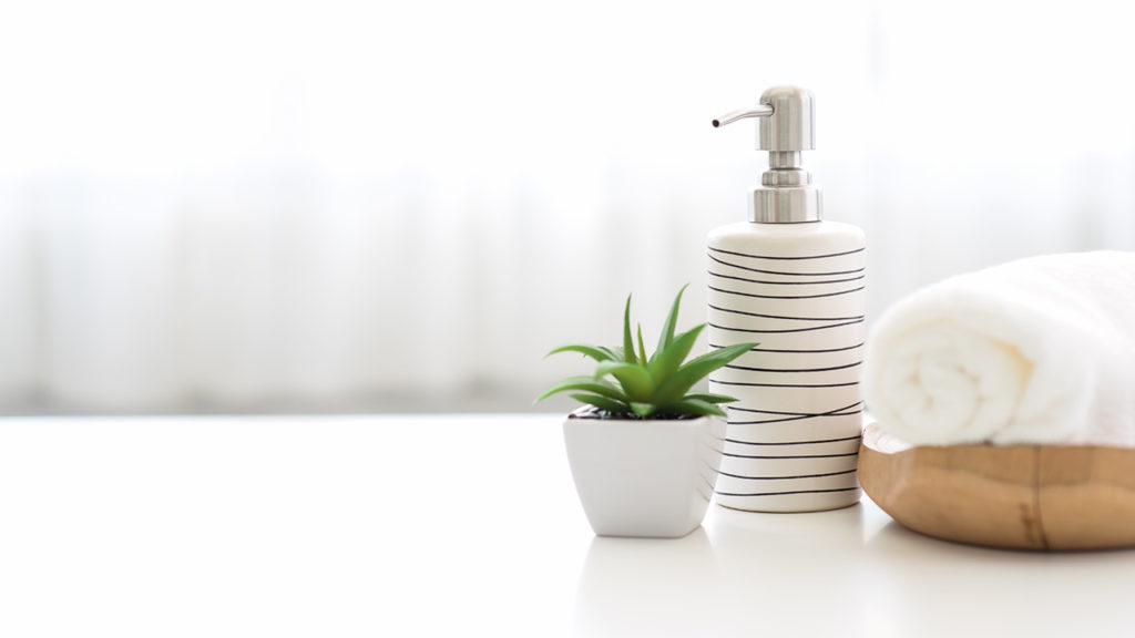 bathroom accessories and hand wash bottle